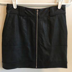 Topshop Size 4 Zip Up Leather Mini Skirt